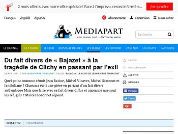 Du fait divers de « Bajazet » à la tragédie de Clichy en passant par l'exil