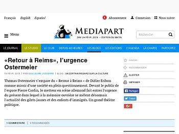 « Retour à Reims », l'urgence Ostermeier