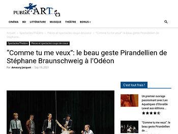 """""""Comme tu me veux"""": le beau geste Pirandellien de Stéphane Braunschweig"""