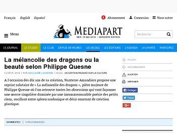 La mélancolie des dragons ou la beauté selon Philippe Quesne