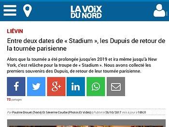 Entre deux dates de « Stadium », les Dupuis de retour de la tournée parisienne