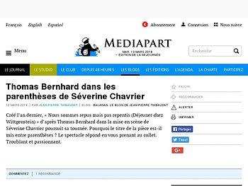 Thomas Bernhard dans les parenthèses de Séverine Chavrier