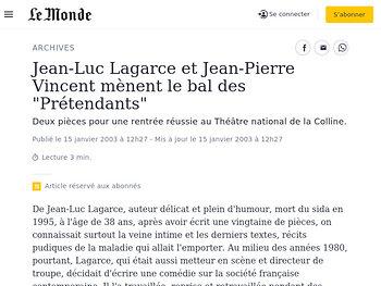 """Jean-Luc Lagarce et Jean-Pierre Vincent mènent le bal des """"Prétendants"""""""