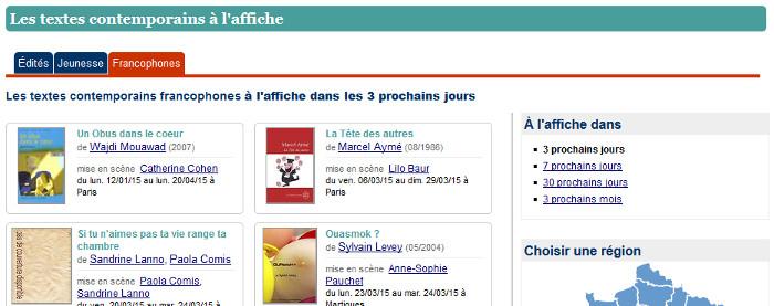 textes francophones à l'affiche